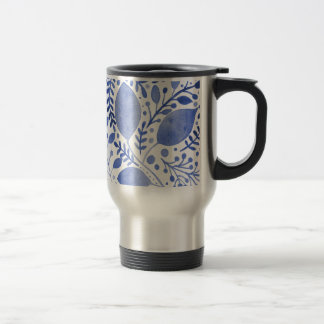 Watercolor leaves - blue travel mug