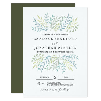 Watercolor Leaves in Green Hues Wedding Card