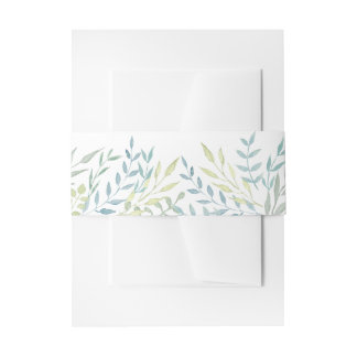 Watercolor Leaves in Green Hues Wedding Invitation Belly Band