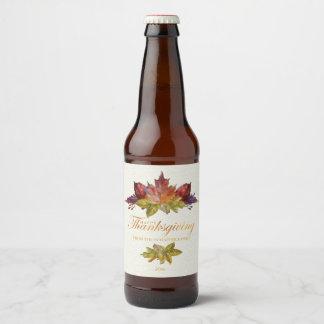 Watercolor Leaves, Thanksgiving Beer Bottle Label