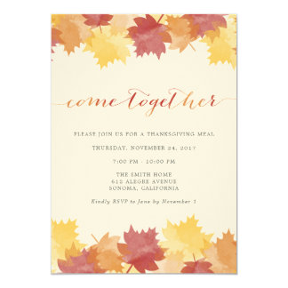 Watercolor Leaves Thanksgiving Party Invitation