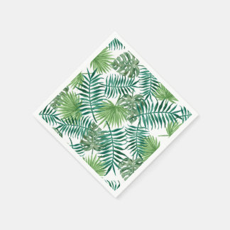 Watercolor Leaves Tropical Palm Tree Leaf Pattern Paper Napkins