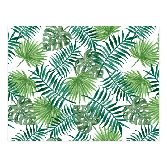 bcd1e028b1b2 Watercolor Leaves Tropical Palm Tree Leaf Pattern Postcard