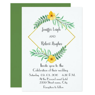 Watercolor Leaves yellow flower wedding Card