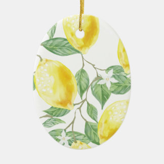 Watercolor Lemon Ceramic Ornament
