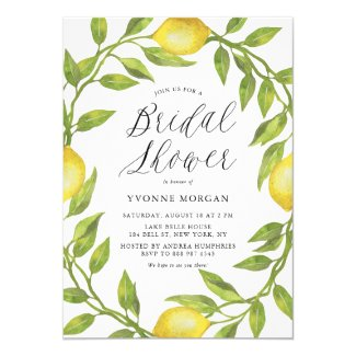 Watercolor Lemon Greenery Wreath Bridal Shower Card