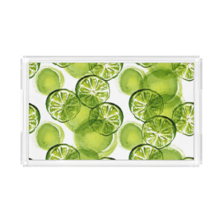 Watercolor lemons Acrylic Tray