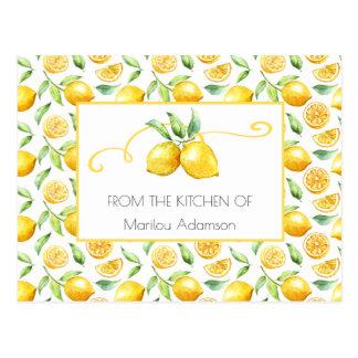 Watercolor Lemons and Green Leaves Recipes   Postcard
