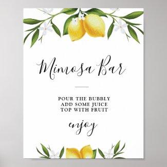 Watercolor lemons bridal shower mimosa bar sign