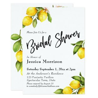 Watercolor Lemons Bridal Shower Typography Card