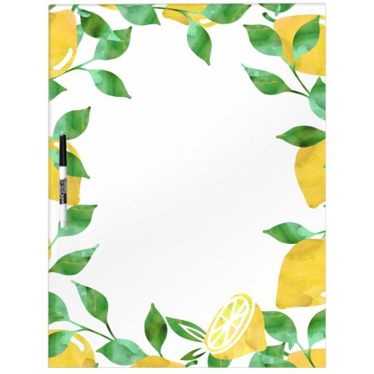 Watercolor Lemons Dry Erase Board