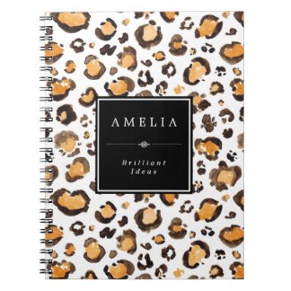 Watercolor Leopard Spots   Custom Name Spiral Notebook
