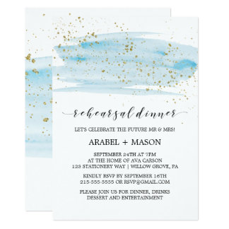 Watercolor Light Blue and Gold Rehearsal Dinner Card