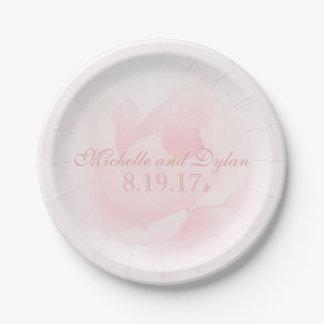 Watercolor Light Pink Peony Wedding Elegant 7 Inch Paper Plate