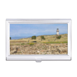 Watercolor lighthouse business card holder