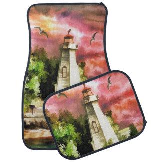 Watercolor Lighthouse Car Mats