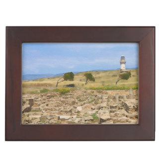 Watercolor lighthouse keepsake box