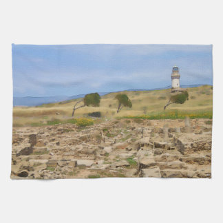 Watercolor lighthouse kitchen towel