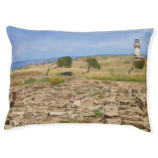 Watercolor lighthouse pet bed