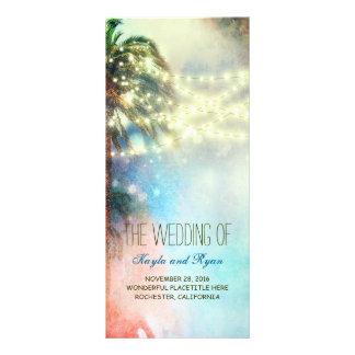 Watercolor Lights Palms Beach Wedding Programs Rack Card