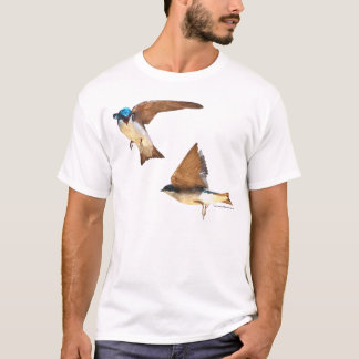 Watercolor-like Tree Swallows Men's tee shirt