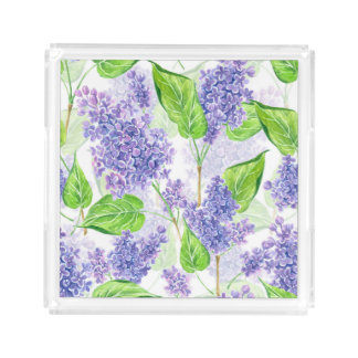 Watercolor lilac flowers acrylic tray