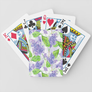 Watercolor lilac flowers bicycle playing cards