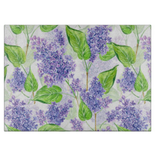 Watercolor lilac flowers cutting board