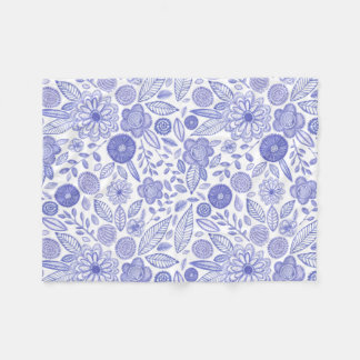 Watercolor Lilac flowers Fleece Blanket