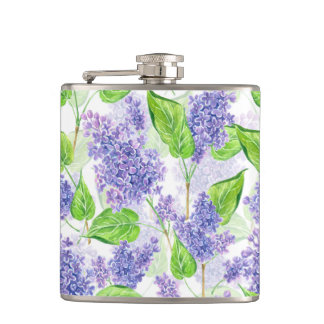 Watercolor lilac flowers hip flask