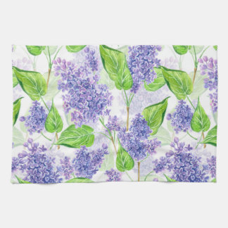 Watercolor lilac flowers kitchen towel