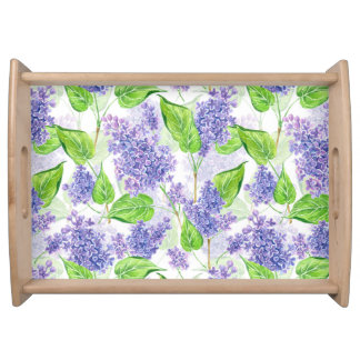 Watercolor lilac flowers serving tray