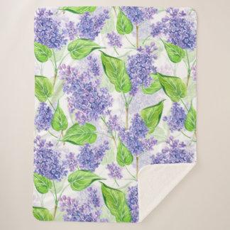 Watercolor lilac flowers sherpa blanket