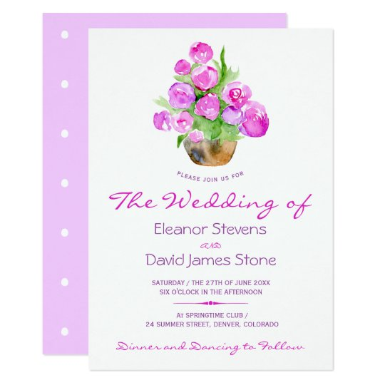 Watercolor lilac violet peony rose bouquet wedding card