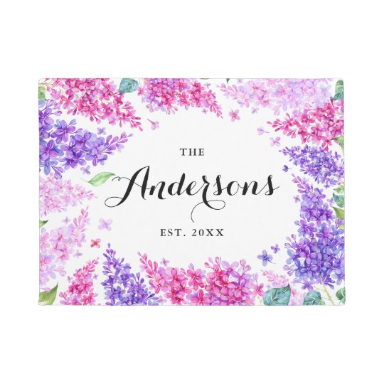 Watercolor Lilac Wreath Personalized Name Doormat