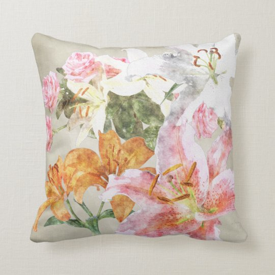 Watercolor Lilies Pillow
