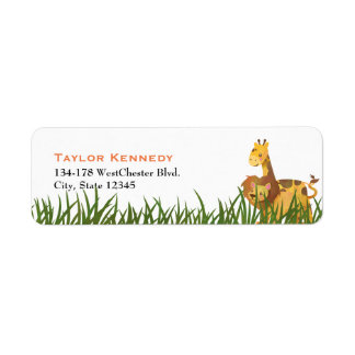 Watercolor Lion and Giraffe in the Grass Return Address Label