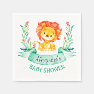 Watercolor Lion Baby Shower Napkin