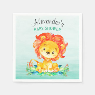 Watercolor Lion Baby Shower Paper Napkin