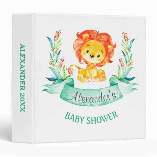 Watercolor Lion Baby Shower Photo Album Binder