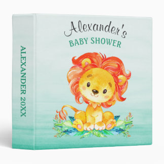 Watercolor Lion Baby Shower Photo Album Vinyl Binders