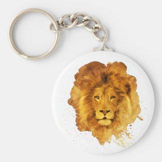 Watercolor Lion Basic Round Button Keychain