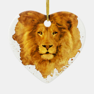 Watercolor Lion Ceramic Heart Ornament