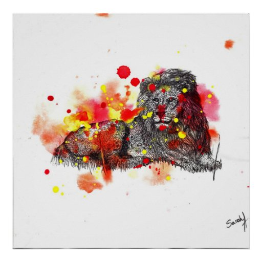 Watercolor Lion Print