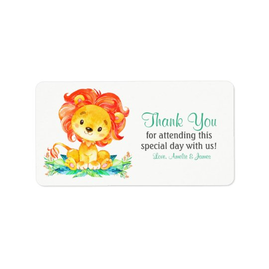 Watercolor Lion Thank You Label