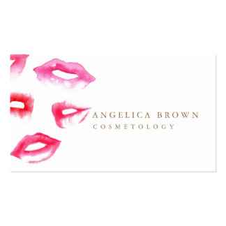 Watercolor Lipstick Cosmetology Business Card