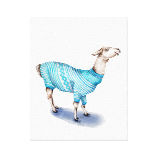 Watercolor Llama in Blue Sweater Canvas Print