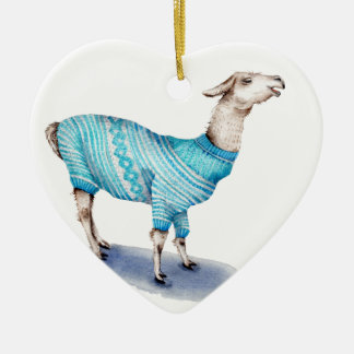 Watercolor Llama in Blue Sweater Ceramic Heart Ornament
