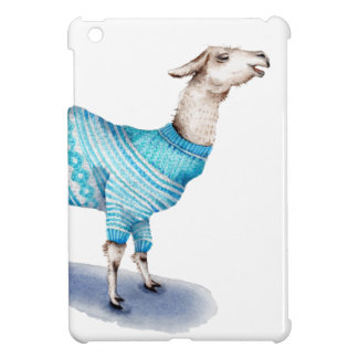 Watercolor Llama in Blue Sweater Cover For The iPad Mini