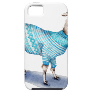 Watercolor Llama in Blue Sweater iPhone 5 Case